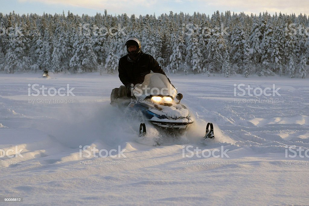 snowmobile winter finland royalty-free stock photo