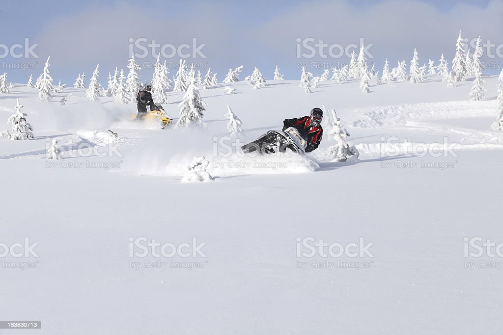 snowmobilers playing in deep powder stock photo