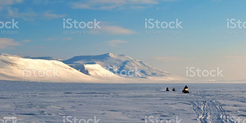 Snowmobiles in Arctic Climate of Spitzbergen, Norway stock photo