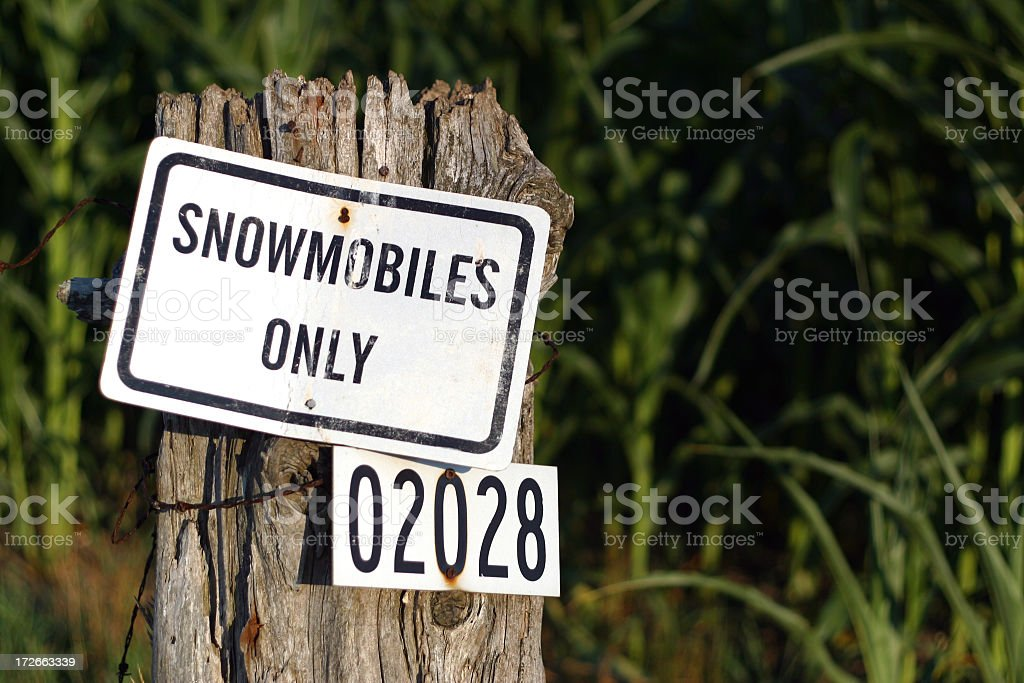 Snowmobiles Only royalty-free stock photo