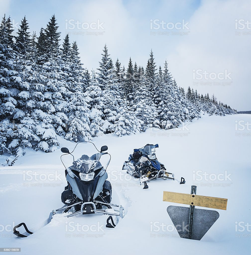 Snowmobiling in Cape Breton Highlands stock photo