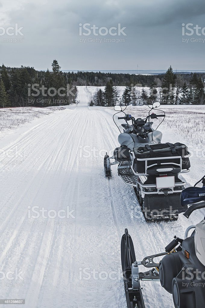 Snowmobiling in Nova Scotia stock photo