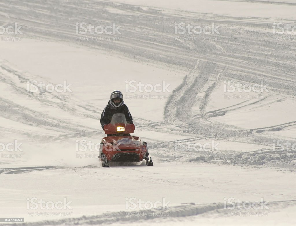 Snowmobiling in the Big Horn Mountains of Wyoming royalty-free stock photo