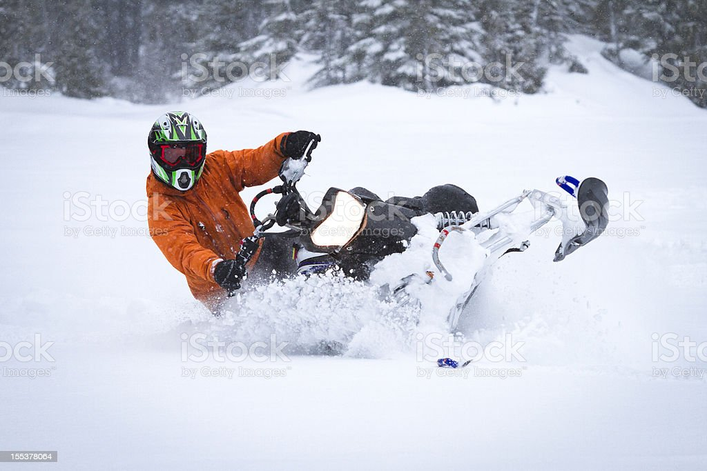 Snowmobiling. stock photo
