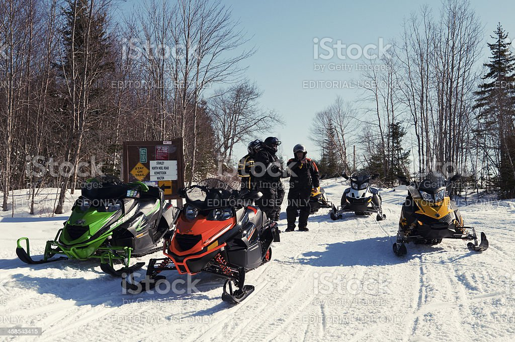 Snowmobiling stock photo