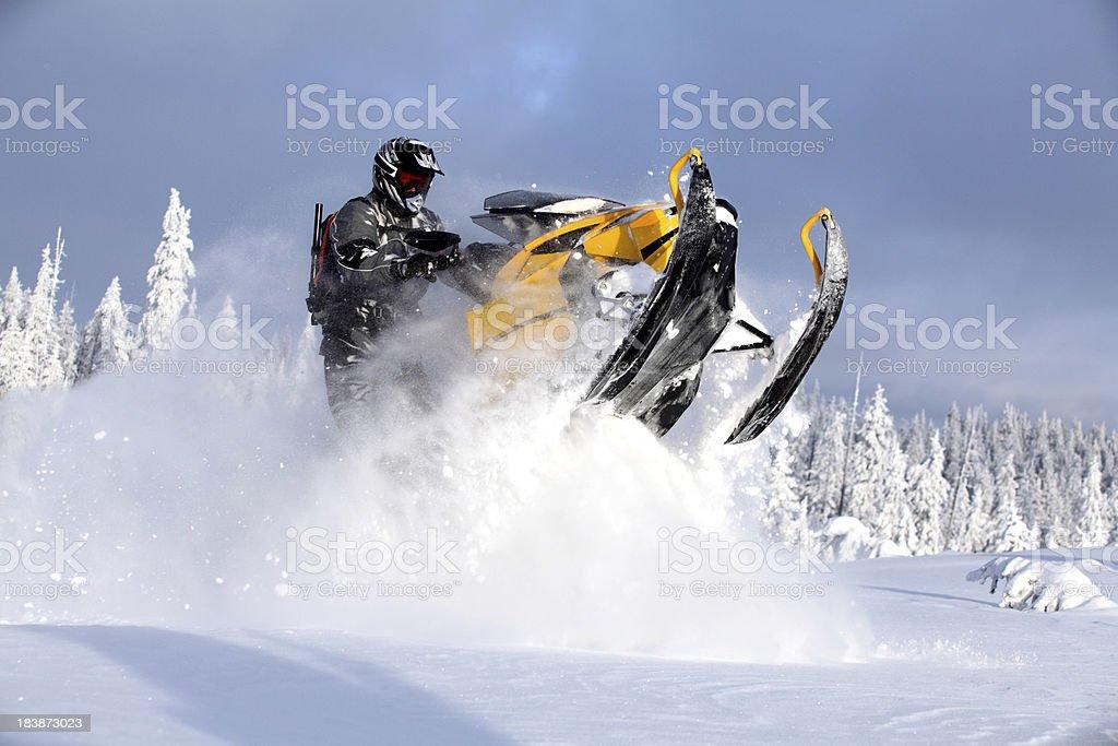 Snowmoble extreme fun stock photo