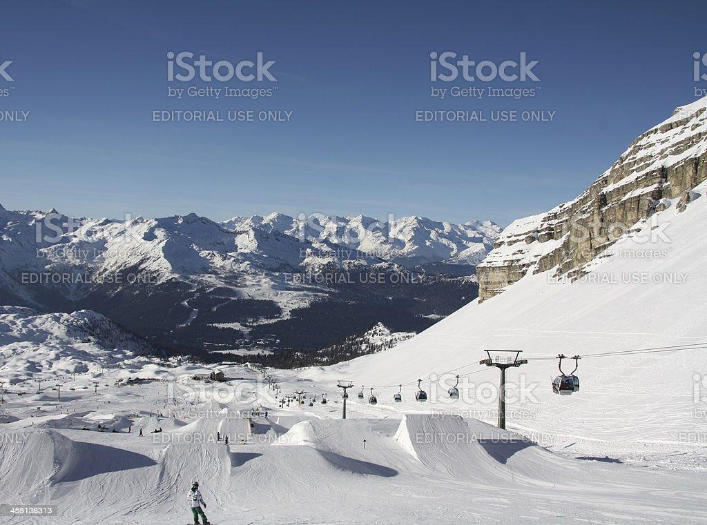 Snowpark at Madonna di Campiglio, Italy stock photo
