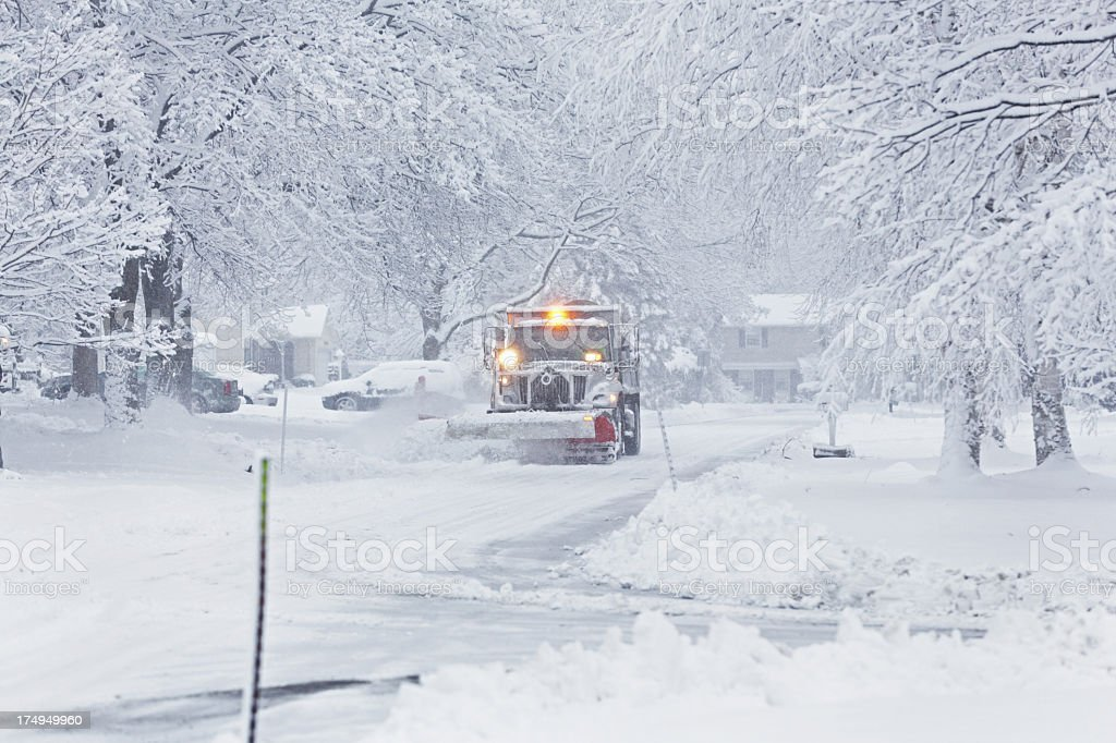 Snowplow Clearing Residential Street Blizzard Snow stock photo