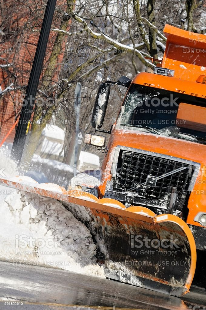 Snowplow in Michigan stock photo