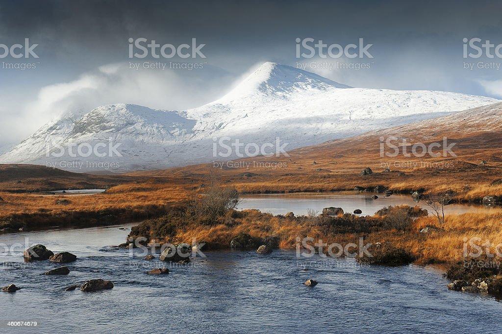 Snows on Rannoch Moor Hills stock photo