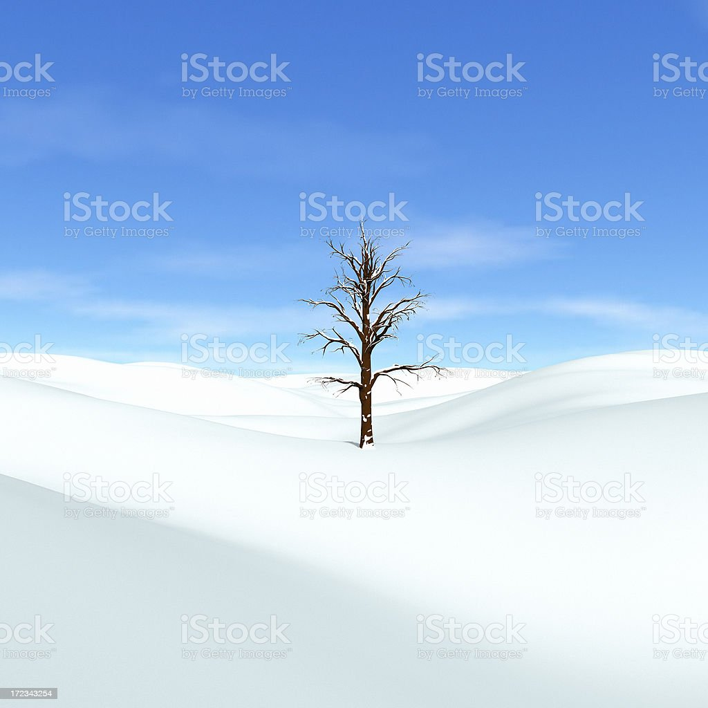 Snowscape with Tree royalty-free stock photo