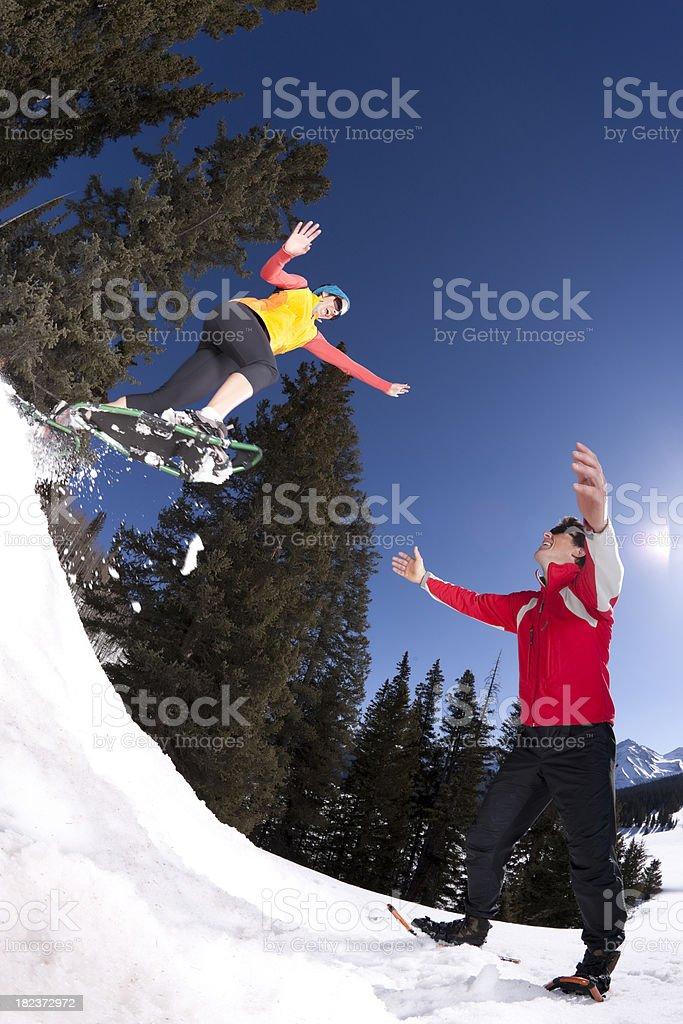 Snowshoe fun royalty-free stock photo
