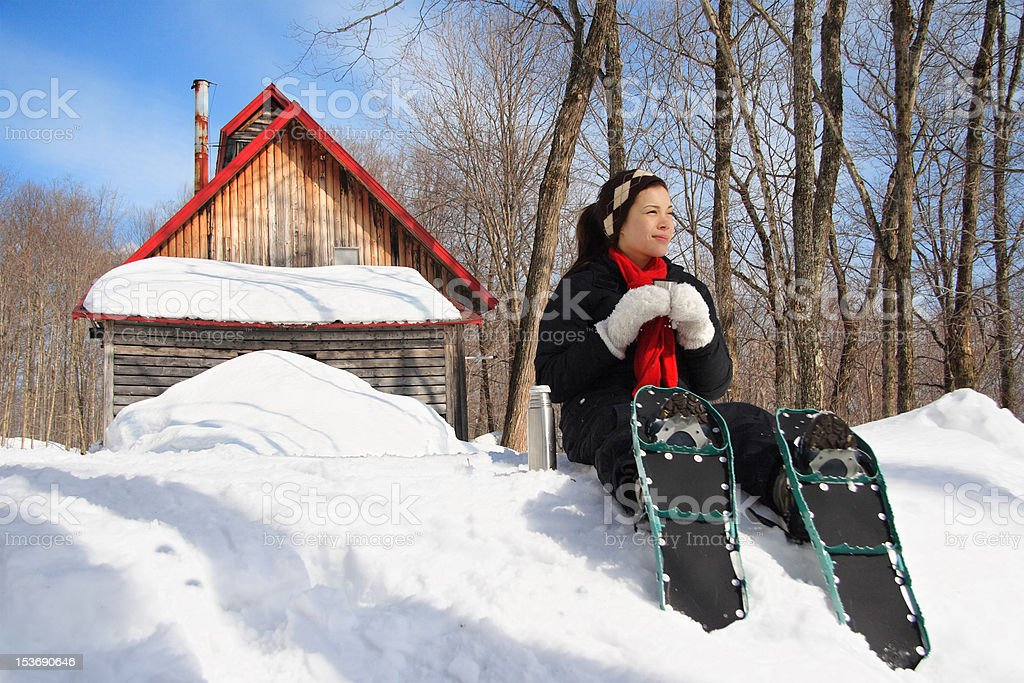 Snowshoe hiking in winter royalty-free stock photo