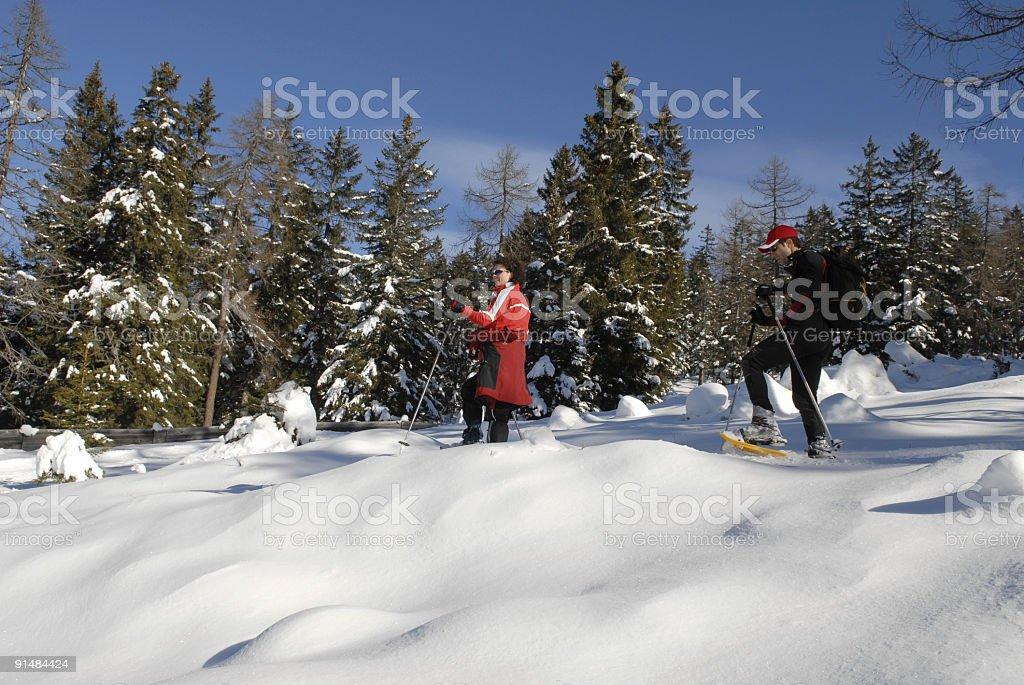 snowshoe hiking stock photo
