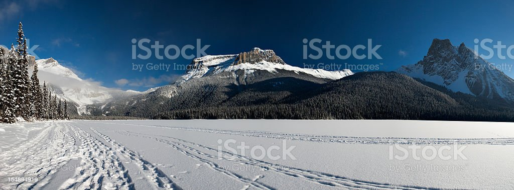 Snowshoe Path on Emerald Lake royalty-free stock photo