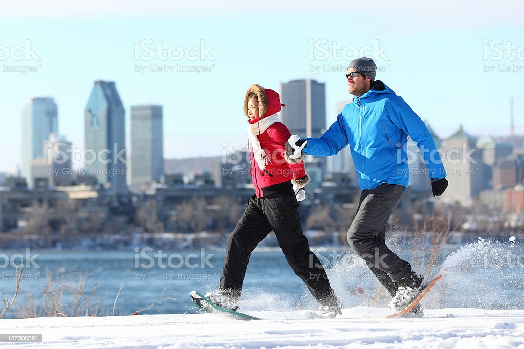 snowshoe winter hiking in Montreal stock photo