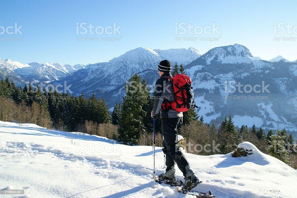 Snowshoe-Hiking stock photo