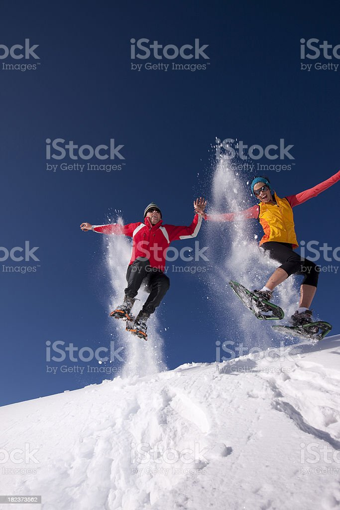 Snowshoeing action royalty-free stock photo