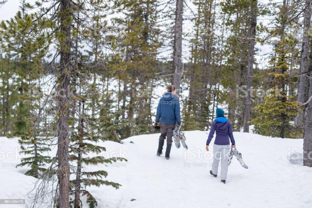 Snowshoeing  Escape stock photo
