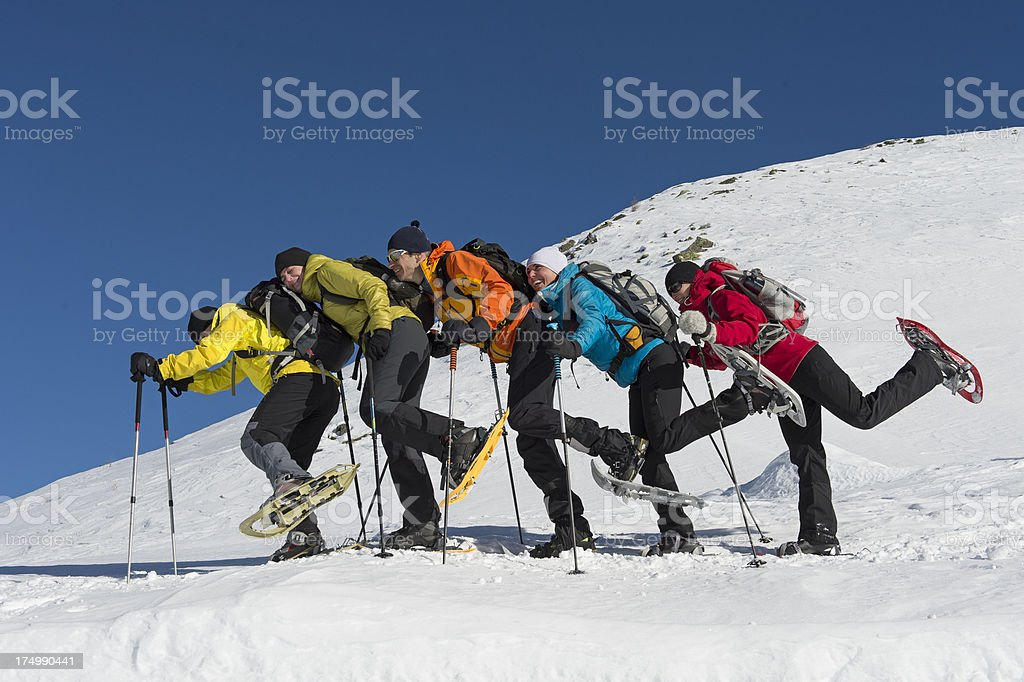 Snowshoeing group stock photo