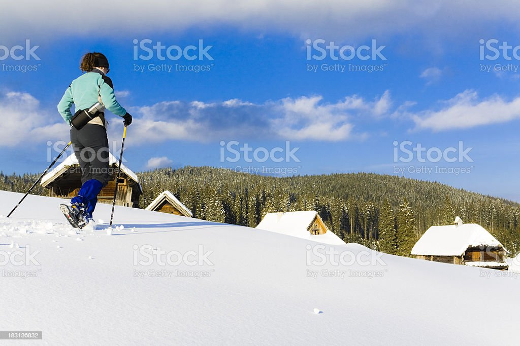 snowshoeing hike royalty-free stock photo
