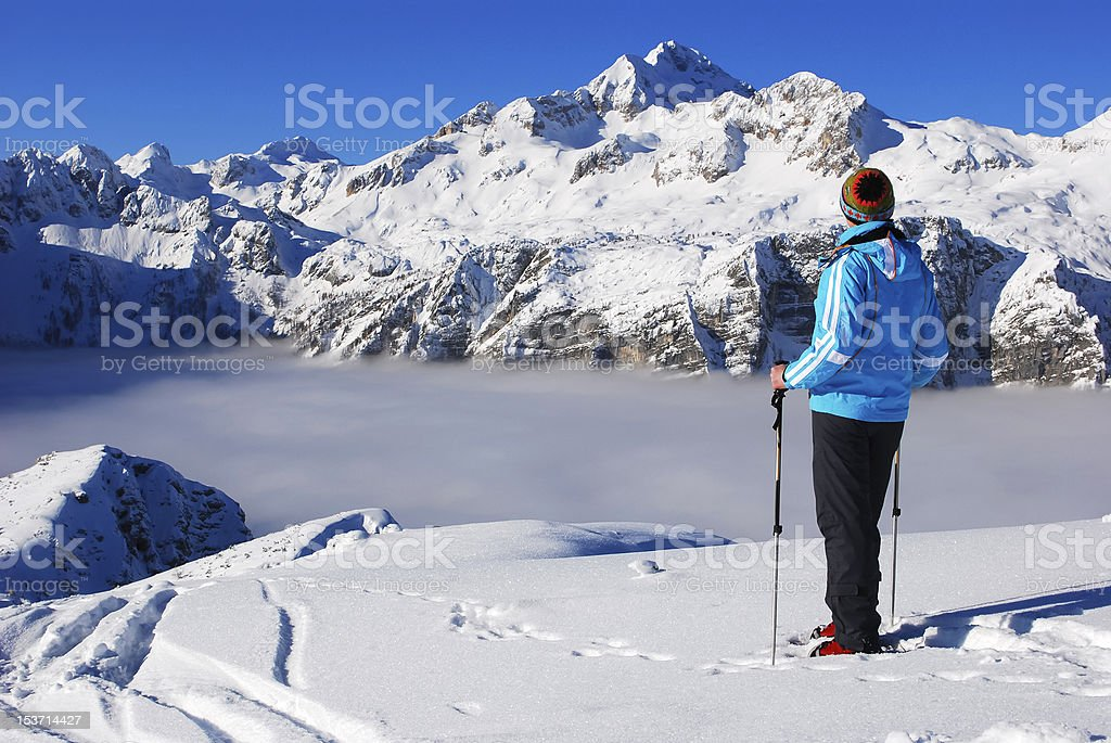 Snowshoeing in Alps Mountains royalty-free stock photo