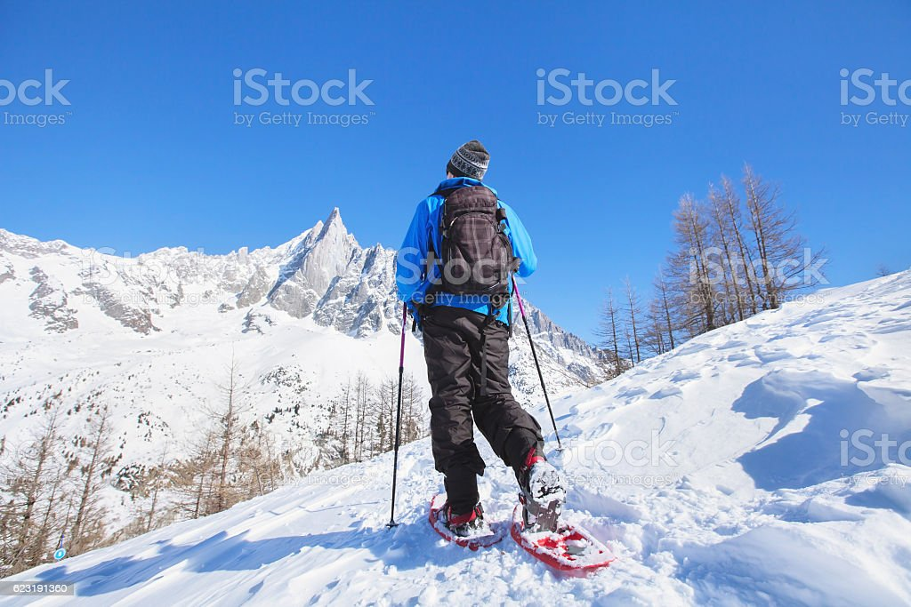 snowshoeing in mountains, hiker walking with snowshoes stock photo