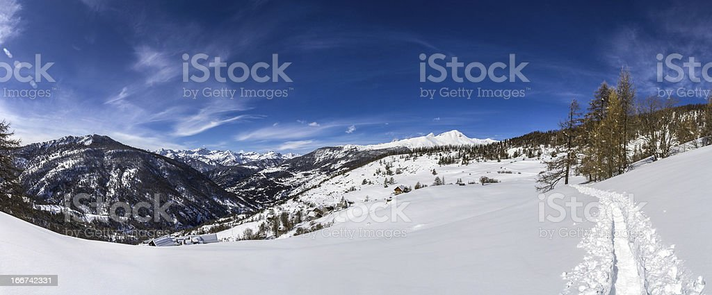 Snowshoeing in the Alps royalty-free stock photo