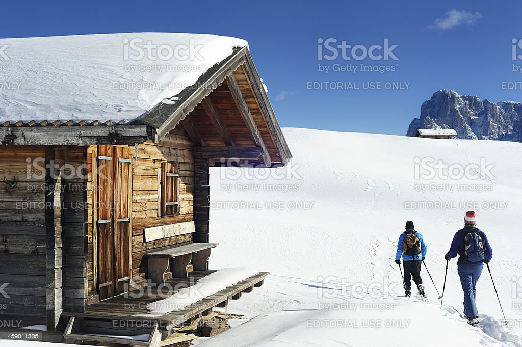 snowshoeing in the Dolomite's royalty-free stock photo