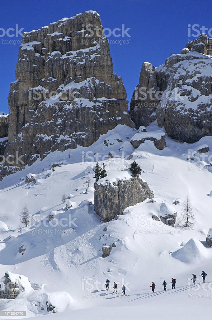 Snowshoeing in the Italian Dolomites royalty-free stock photo