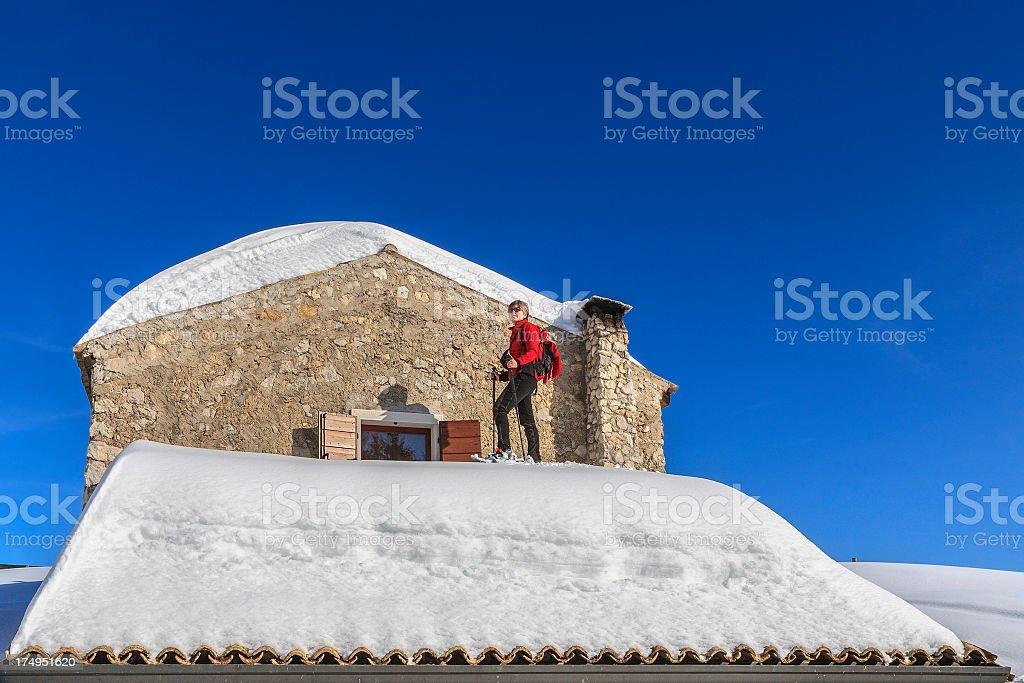 Snowshoeing on Monte Baldo, Italy royalty-free stock photo
