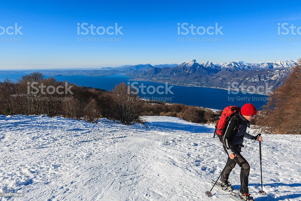 Snowshoeing on Monte Baldo royalty-free stock photo