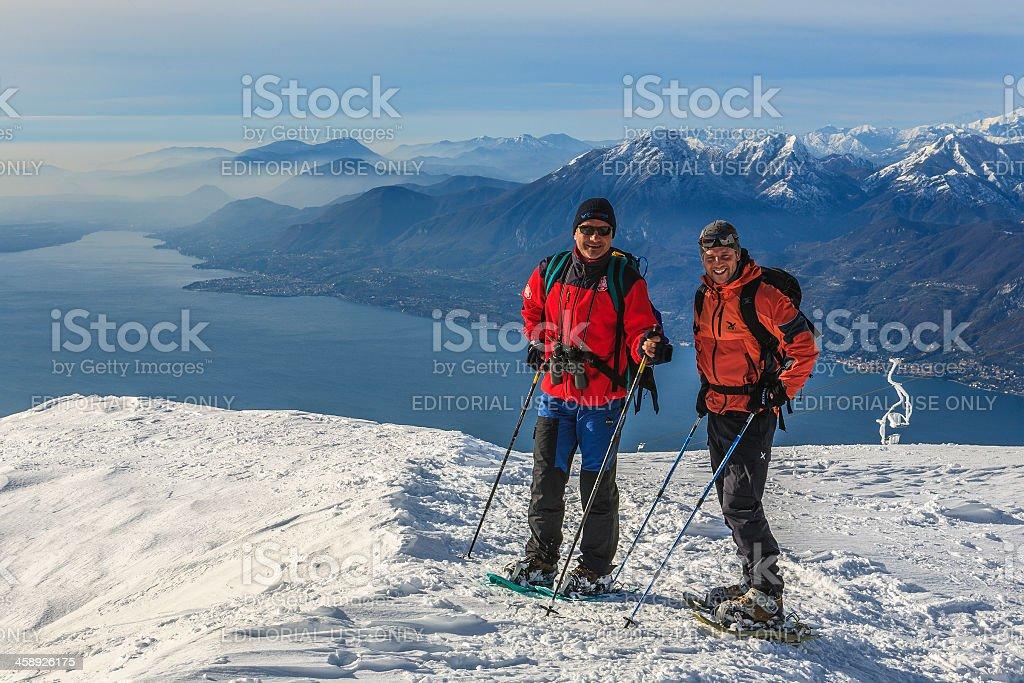 Snowshoeing on Monte Baldo stock photo