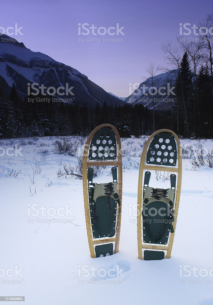 Snowshoes at Dusk royalty-free stock photo