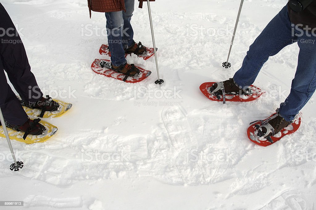 Snowshoes departure royalty-free stock photo
