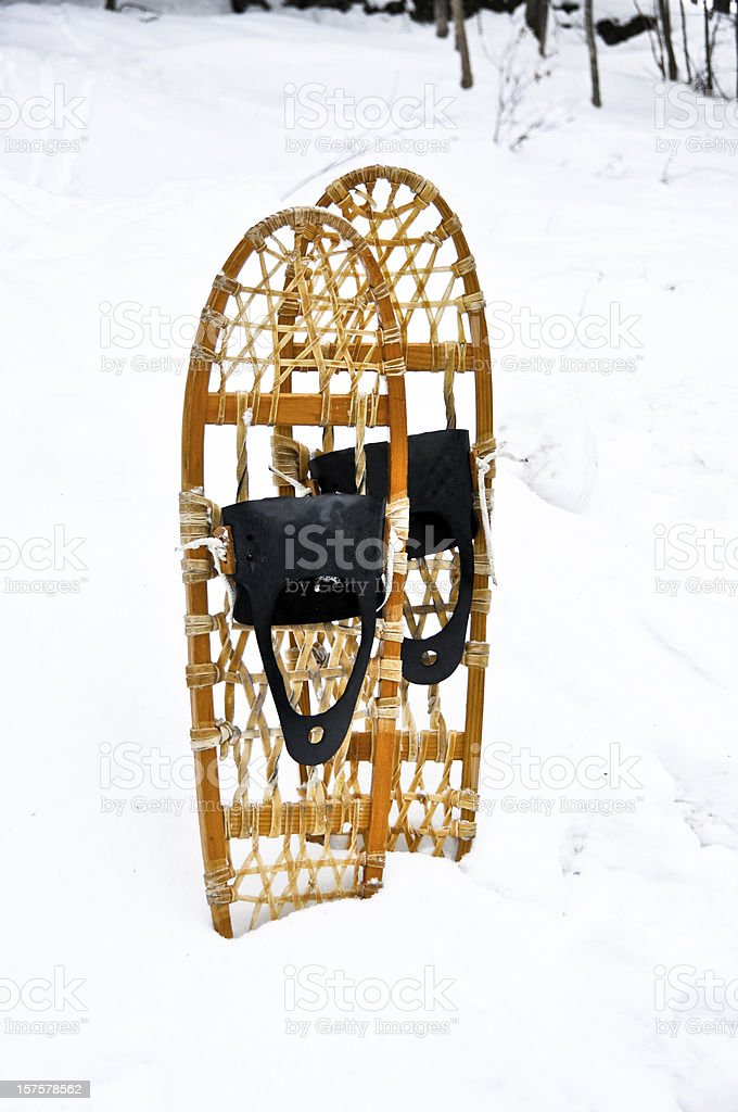 Snowshoes standing in snow royalty-free stock photo