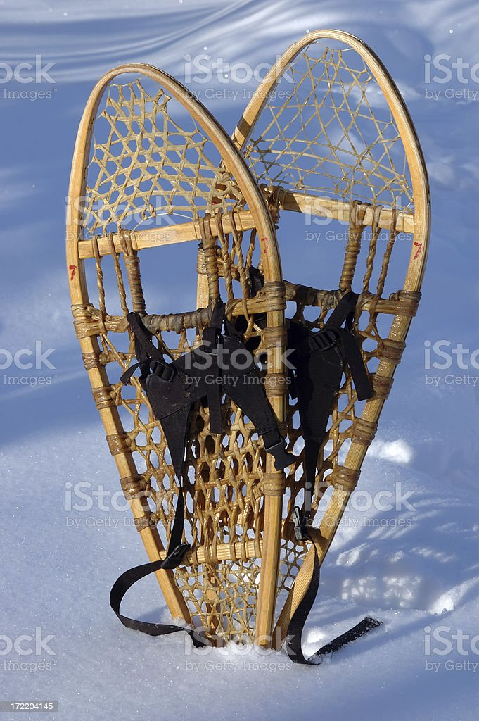 Snowshoes still-life (vertical) royalty-free stock photo