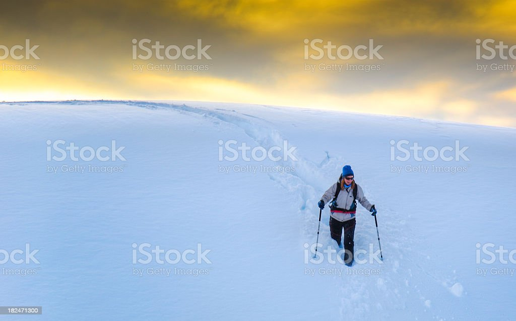 Snowshoing royalty-free stock photo