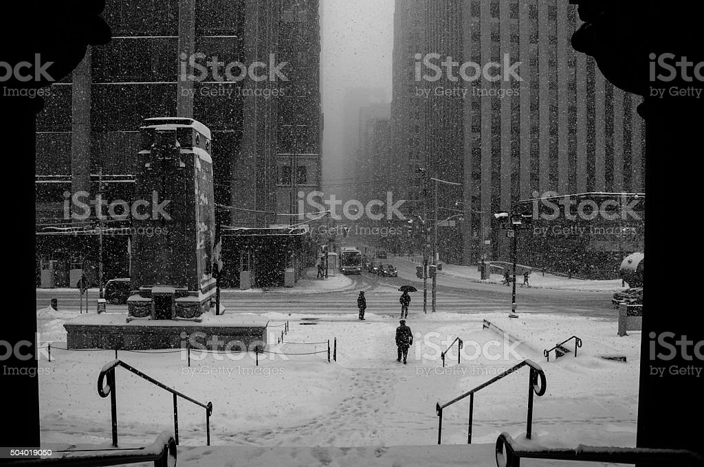 snowstorm downtown stock photo