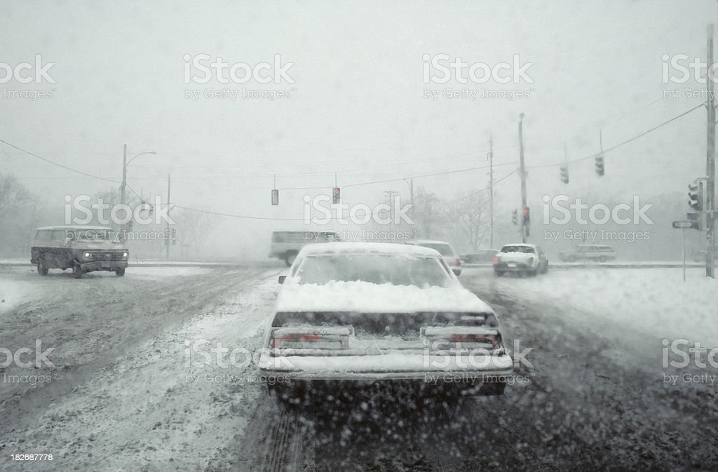 snowstorm driving royalty-free stock photo