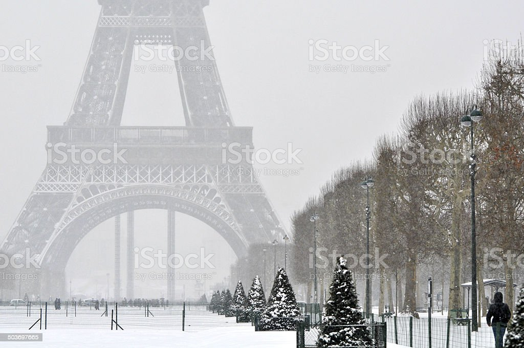 Snowstorm in Paris stock photo