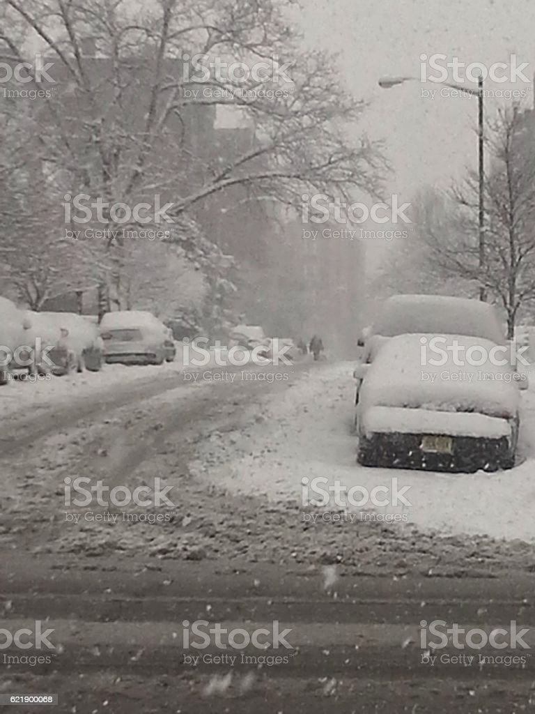 Snowstorm in the city stock photo