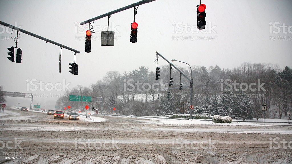 Snowstorm Intersection stock photo