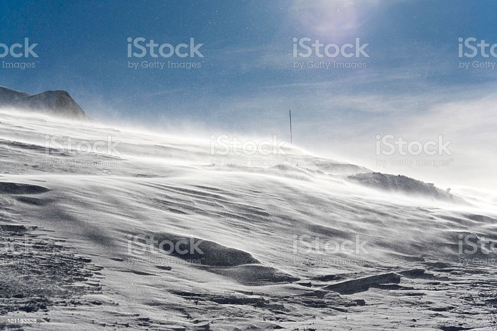 Snowstorm on a mountain during the day royalty-free stock photo