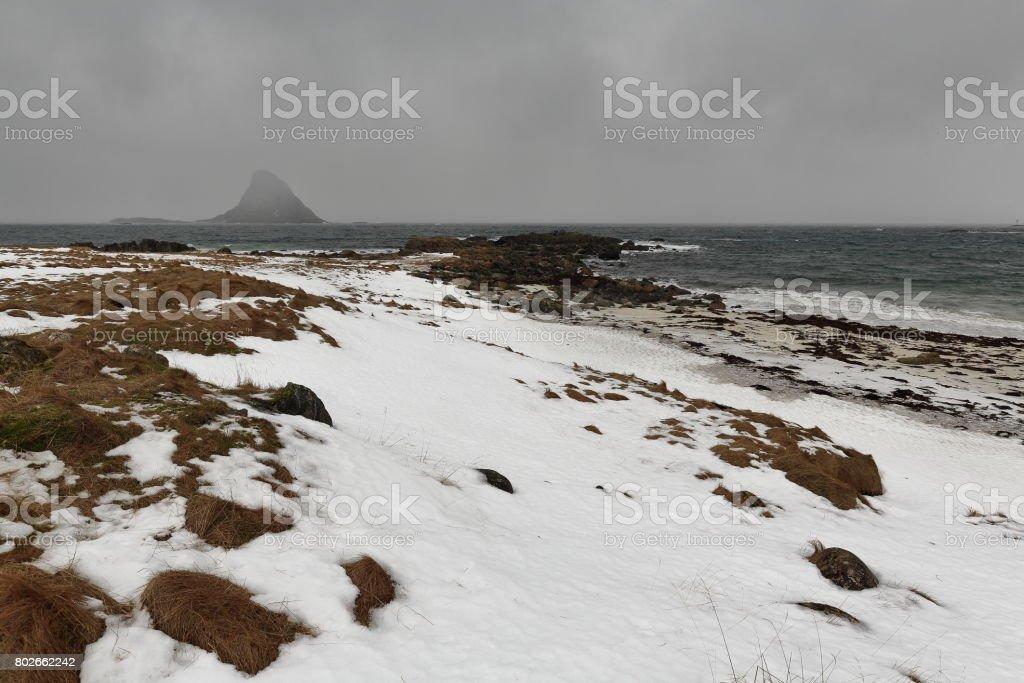 Snowstorm over Bleiksoya-island placed SW.from Bleik-fishing village. Andoya-Nordlan fylke-Norway. 0046 stock photo