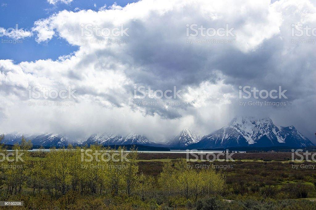 Snowstorm paints Grand Teton Mountains royalty-free stock photo