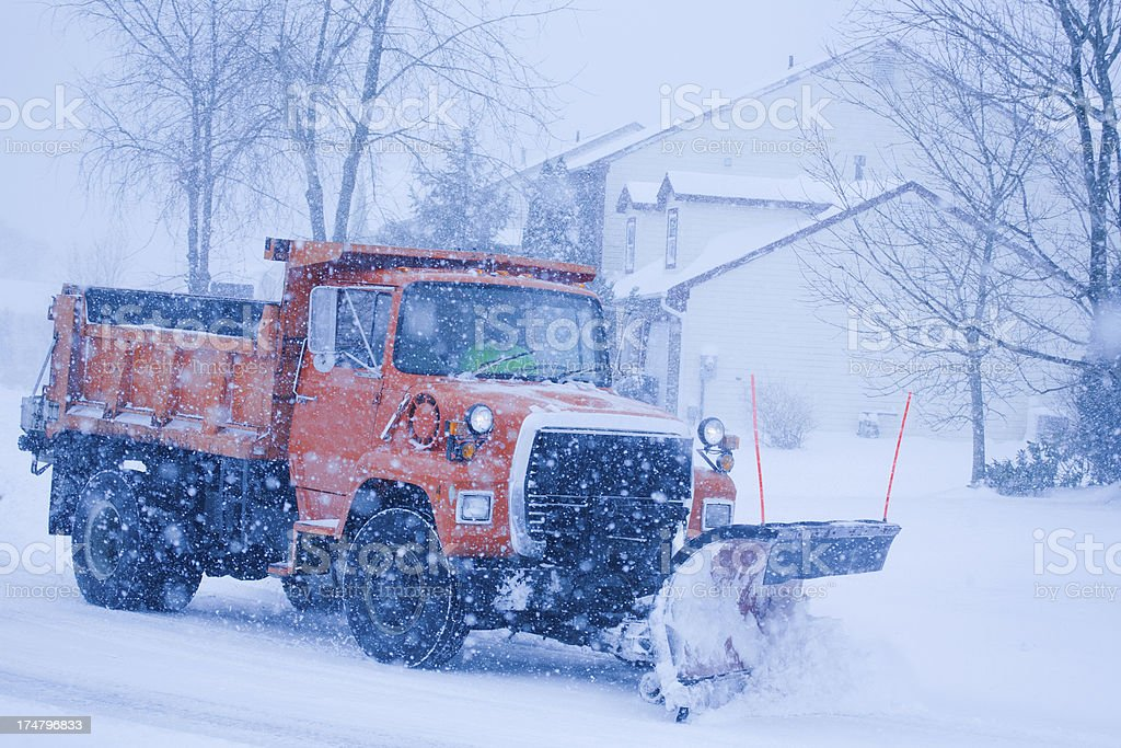 Snowstorm plowing stock photo