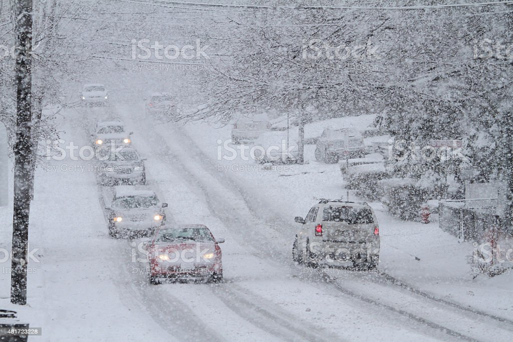 Snowstorm Traffic Hazardous Travel stock photo