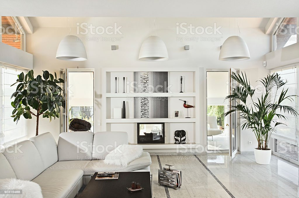 Snow-white living room interior in modern style royalty-free stock photo