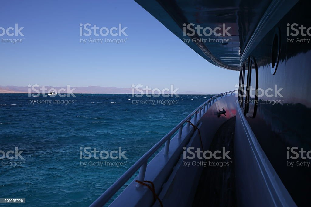 Snow-white yacht drifting in Egypt on the Red Sea stock photo